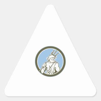 Neptune Poseidon Trident Circle Retro Triangle Sticker