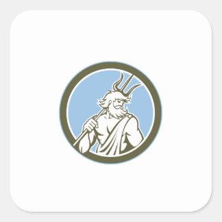 Neptune Poseidon Trident Circle Retro Square Sticker