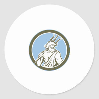 Neptune Poseidon Trident Circle Retro Round Sticker