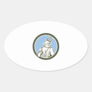 Neptune Poseidon Trident Circle Retro Stickers