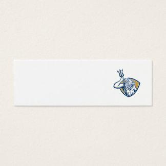 Neptune Poseidon Trident Shield Retro Mini Business Card