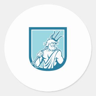 Neptune Poseidon Trident Shield Retro Sticker
