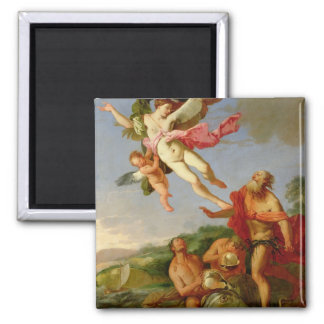 Neptune Pursuing Coronis, 1665-70 (oil on canvas) 2 Inch Square Magnet