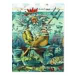 Neptune sitting among sunken wrecks postcard