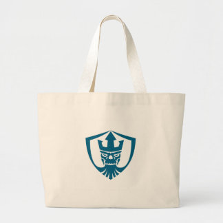 Neptune Skull Trident Crown Crest Icon Large Tote Bag