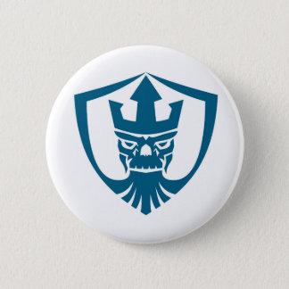 Neptune Skull Trident Crown Crest Icon Pinback Button