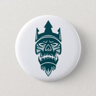 Neptune Skull Trident Crown Retro Pinback Button