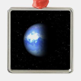 Neptune Square Metal Christmas Ornament