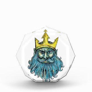 Neptune Trident Crown Head  Woodcut Award