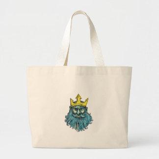 Neptune Trident Crown Head  Woodcut Large Tote Bag