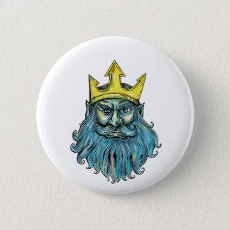 Neptune Trident Crown Head  Woodcut Pinback Button