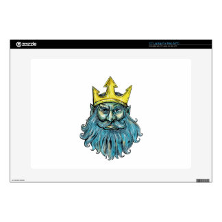 Neptune Trident Crown Head  Woodcut Skins For Laptops