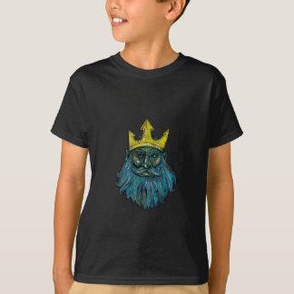 Neptune Trident Crown Head  Woodcut T-Shirt