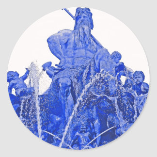 Neptunes Fountain, Alexanderplatz, Berlin, Blue(1) Round Sticker