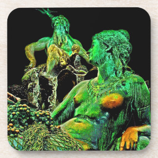 Neptunes Fountain, Alexanderplatz,Berlin,Green(n3) Coaster
