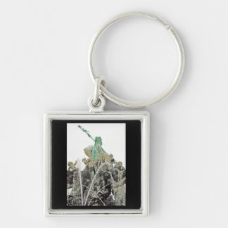 Neptunes Fountain, Alexanderplatz, Berlin (n6norm) Silver-Colored Square Keychain