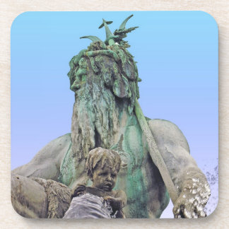 Neptunes Fountain, Alexanderplatz,Berlin,Sky(n1c) Beverage Coaster