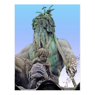 Neptunes Fountain, Alexanderplatz,Berlin,Sky(n1c) Postcard