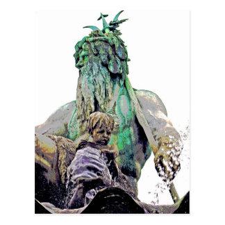 Neptunes Fountain, Alexanderplatz,Close(1) Postcard