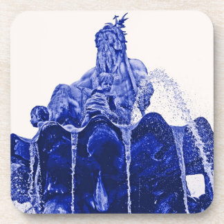 Neptunes Fountain, Alexanderplatz,in Blue Coaster