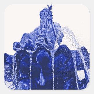 Neptunes Fountain, Alexanderplatz,in Blue Square Stickers