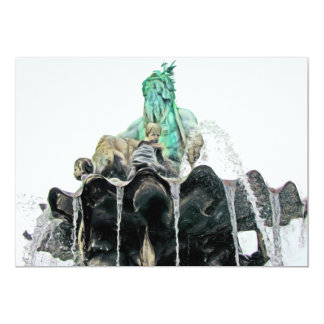 Neptunes Fountain, Alexanderplatz,in Oils(1) 5x7 Paper Invitation Card