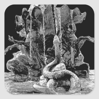 Neptunes Fountain with Snake, Berlin, B&W Square Sticker