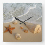 Neptune's Gifts (Shells) Square Wall Clocks