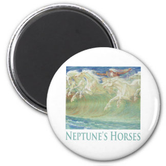 NEPTUNE'S HORSES RIDE THE WAVES 2 INCH ROUND MAGNET