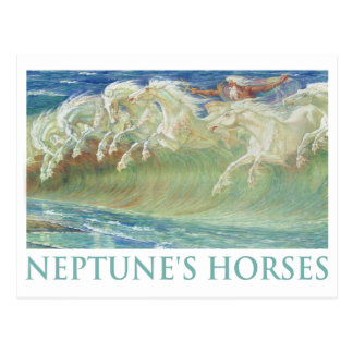 NEPTUNE'S HORSES RIDE THE WAVES POSTCARD