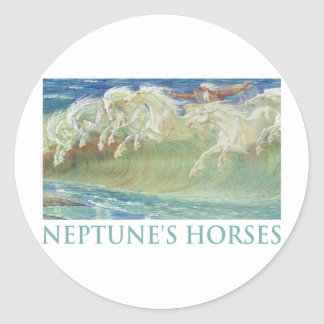 NEPTUNE'S HORSES RIDE THE WAVES ROUND STICKER