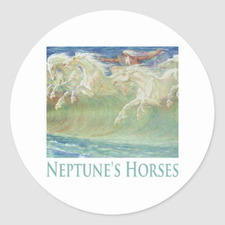 NEPTUNE'S HORSES RIDE THE WAVES ROUND STICKERS