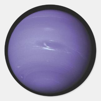 Neptuno azul hermoso, según lo visto de espacio, pegatinas redondas