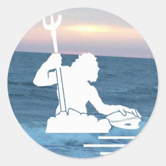 Neptuno en el pegatina del mar