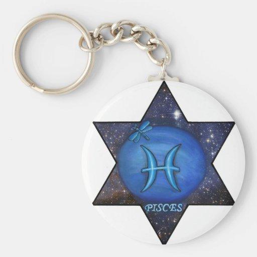 Neptuno en Piscis, muestra de la estrella Llavero Personalizado