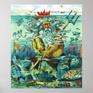 Neptuno que se sienta entre ruinas hundidas póster