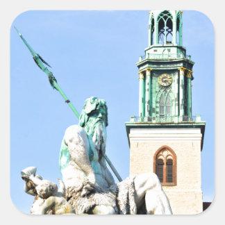 Neptun's fountain in Berlin, Germany Square Sticker