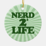 Nerd 4 Life in Green Double-Sided Ceramic Round Christmas Ornament