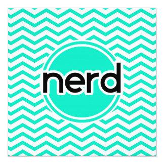 Nerd, Aqua Green Chevron 5.25x5.25 Square Paper Invitation Card