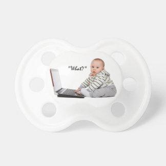 Nerd Baby on laptop Pacifier