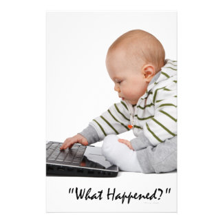 Nerd Baby  on laptop T-shirt and Gift designs Custom Stationery