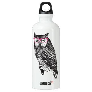 Nerd Bird Vintage Graphic Owl Aluminum Water Bottle