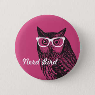 Nerd Bird Vintage Graphic Owl Button