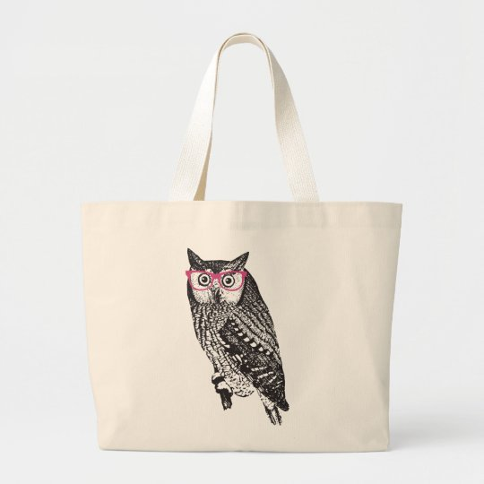 Nerd Bird Vintage Graphic Owl Canvas Tote Bag