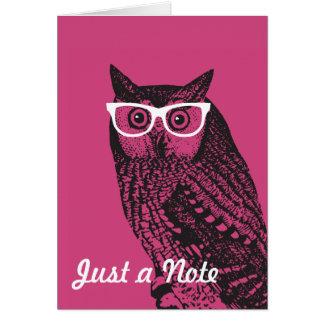 Nerd Bird Vintage Graphic Owl Notecards Card