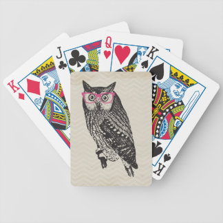 Nerd Bird Vintage Graphic Owl Playing Cards