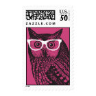 Nerd Bird Vintage Graphic Owl Postage Stamps