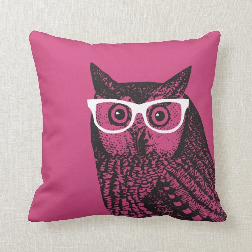 Nerd Bird Vintage Graphic Owl Throw Pillow