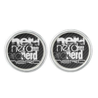 Nerd; Black & Dark Gray Stripes Cufflinks