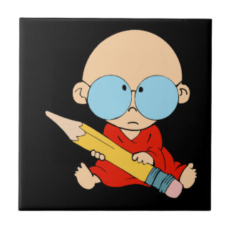 Nerd boy big glasses & pencil ceramic tile